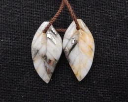 14ct New Design Natural Pyrite Carved Leaf Earring Pair H1856