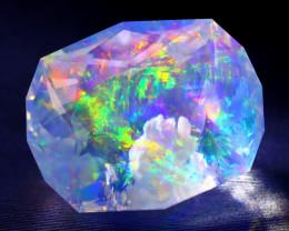 8.49Ct Aurora ContraLuz Pattern Rainbow Flash Faceted Welo Opal B2213