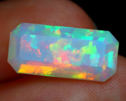 2.02Ct Jig Saw Patchwork Pattern Rainbow Flash Facted Welo Opal B2215