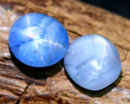 Star Sapphire 4.77Ct 2Pcs Natural Untreated 6 Rays Star Sapphire C2206