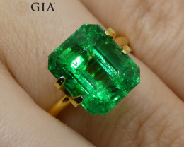 5.02ct Octagonal/Emerald Cut Vivid Intense Green Emerald GIA Certified Zamb