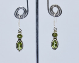 PERIDOT EARRINGS 925 STERLING SILVER NATURAL GEMSTONE E129