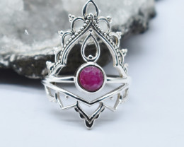 RUBY RING 925 STERLING SILVER NATURAL GEMSTONE JR1169