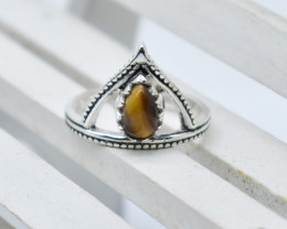 TIGER EYE RING 925 STERLING SILVER NATURAL GEMSTONE JR1172