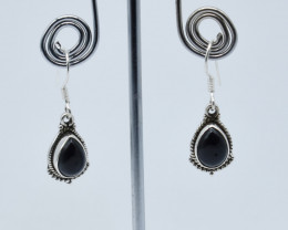 BLACK ONYX  EARRINGS 925 STERLING SILVER NATURAL GEMSTONE E133