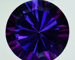 ~WONDER~ 7.37Cts Tanzanite Color Natural Topaz 12mm Round Concave Braz