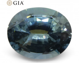 3.31ct Oval Steel Blue Sapphire GIA Certified Thailand Unheated