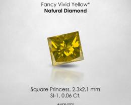 Fancy VIVID Yellow Square Princess 0.06 Ct. Loose Natural Diamond