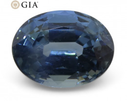 1.72ct Oval Steel Blue Sapphire GIA Certified Thailand Unheated