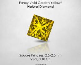 Fancy VIVID Golden Yellow Square Princess 0.10 Ct. Loose Natural Diamond