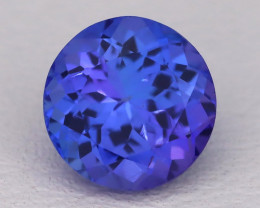 Tanzanite 1.57Ct VVS Round Cut Natural Vivid Purplish Blue Tanzanite C2302