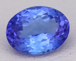 Tanzanite 1.68Ct VVS Oval Cut Natural Vivid Purplish Blue Tanzanite C2319