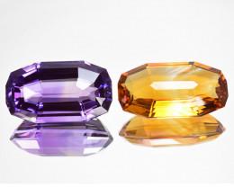 ~CUSTOM CUT~ 32.67Cts Natural Purple Amethyst & Citrine  Fancy