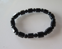natural A grade black jade Jadeite 7mm cylinder beads Elastic bra