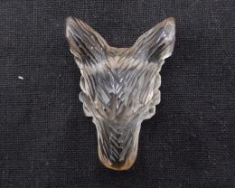 154.5cts Hand Carved Wolf Pendant Smorky Quartz  Wolf ,Wolf Head Pendant BH
