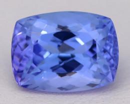 4.98Ct Natural Vivid Blue Tanzanite IF Flawless Cushion Master Cut A2409
