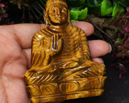 Genuine 588.00 Cts Tiger Eye Hand Carved Buddha