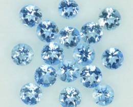1.08 Cts Natural Blue Aquamarine 2.50mm Round Parcel Brazil