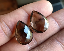Smoky Quartz Checkered Cut Pair 100% Natural Gemstones VA5203
