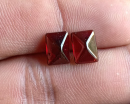 Natural Garnet Cabochon Caliberated Pair Genuine Gemstones VA5233