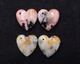 2pairs heart shape earrings, rhodonite earrings, pyrite earrings H1917