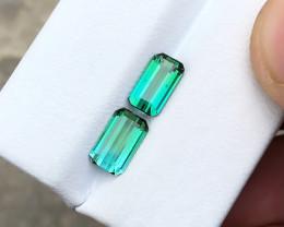 2.10 Ct Natural Bi Color Transparent Tourmaline Gemstones Pairs