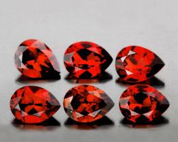 7x5 mm Pear 6 pcs 5.26cts Orange Red Mozambique Garnet [VVS]