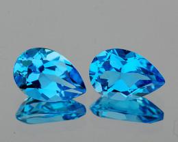 9x6 mm Pear 2 pcs 2.97cts Swiss Blue Topaz [VVS]