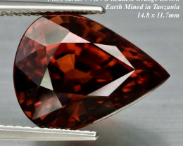 14.88ct VVS/VS  UNHEATED Reddish Orange Zircon Tanzania 14.8 x 11.7mm BIG