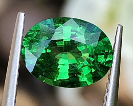 1.9 ct ViVid Green Tsaverite Garnet With Excellent Luster and Fine Cutting