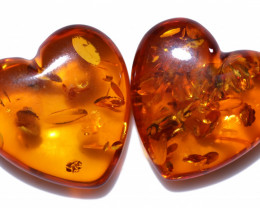 31 Cts Lovers Heart Pair Natural  Amber from Poland  code CCC2820