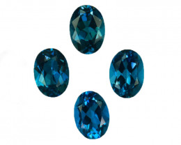 4.06 Cts Natural London Blue Topaz 7x5mm Oval Cut 4Pcs Brazil