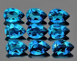 6x4 mm Pear 9 pcs 4.35cts Bright London Blue Topaz [VVS]