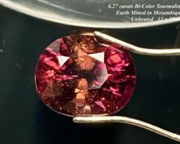 6.27ct  Rubellite - Pinkish Orange Bi-Color UNTREATED