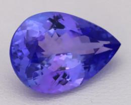 5.78Ct Natural Vivid Blue Tanzanite IF Flawless Pear Master Cut A2708