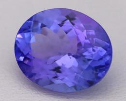 4.86Ct Natural Vivid Blue Tanzanite IF Flawless Oval Master Cut A2709