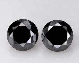 5.63 ct. of 2 Pcs Loose Natural Black Diamonds Pair Round 8.5mm
