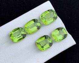 16 carats natural step cushion cuts peridots set
