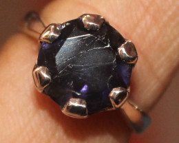 925 Sterling Silver Iolite Ring 60