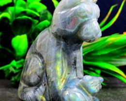 Genuine 881.00 Cts Amazing Flash Labradorite  Hand Carved Dog & Puppy