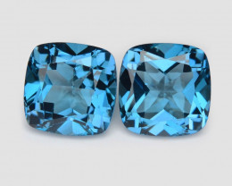 Topaz 4.21 Cts 2 Pcs London Blue Natural Gemstone