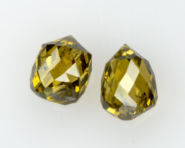 RARE ! Natural Yellow Diamonds Briolette Drops Pair 0.82ct of 2 pcs