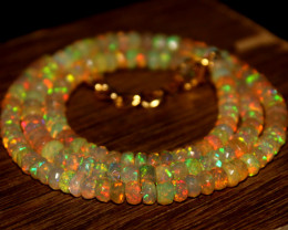 46 Crt Natural Ethiopian Welo Faceted Opal Necklace 257