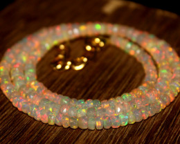 31 Crt Natural Ethiopian Welo Faceted Opal Necklace 237