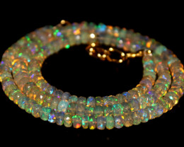 43 Crt Natural Ethiopian Welo Faceted Opal Necklace 235