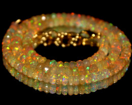 49 Crt Natural Ethiopian Welo Faceted Opal Necklace 244