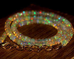 44 Crt Natural Ethiopian Welo Faceted Opal Necklace 246