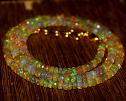 37 Crt Natural Ethiopian Welo Faceted Opal Necklace 248