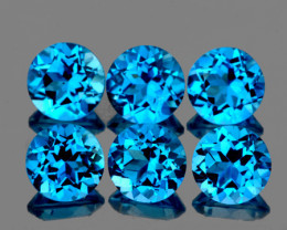 5.00 mm Round 6 pcs 3.92cts Swiss Blue Topaz [VVS]