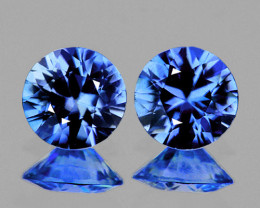 3.60 mm Round 2 pcs 0.41ct Blue Sapphire [VVS]